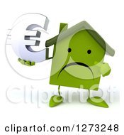 Clipart Of A 3d Unhappy Green House Character Holding And Pointing To A Euro Symbol Royalty Free Illustration by Julos