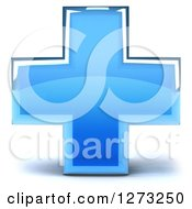 Clipart Of A 3d Blue Glass Medical Cross Royalty Free Illustration
