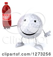 Clipart Of A 3d Happy Golf Ball Character Shrugging And Holding A Soda Bottle Royalty Free Illustration