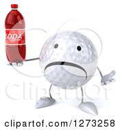 Clipart Of A 3d Unhappy Golf Ball Character Shrugging And Holding A Soda Bottle Royalty Free Illustration