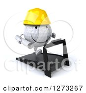 Clipart Of A 3d Happy Golf Ball Contractor Character Facing Slightly Right And Running On A Treadmill Royalty Free Illustration