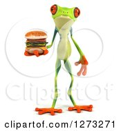 3d Argie Frog Holding A Double Cheeseburger