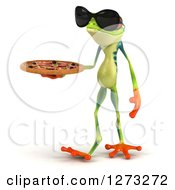 3d Argie Frog Wearing Sunglasses And Walking Slightly Left With A Pizza