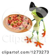 3d Argie Frog Wearing Sunglasses And Holding Up A Pizza