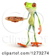 3d Argie Frog Walking To The Left And Holding A Pizza