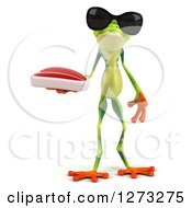 3d Argie Frog Wearing Sunglasses And Holding A Beef Steak