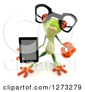 Clipart Of A 3d Bespectacled Argie Frog Pointing Outwards And Holding A Smart Phone Or Tablet Computer Royalty Free Illustration