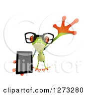 Clipart Of A 3d Bespectacled Argie Frog Leaping Outwards And Holding A Smart Phone Or Tablet Computer Royalty Free Illustration