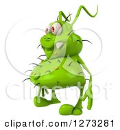 Clipart Of A 3d Green Germ Facing Left Royalty Free Illustration