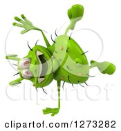 Clipart Of A 3d Green Germ Cartwheeling Royalty Free Illustration