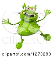 Clipart Of A 3d Green Germ Jumping Royalty Free Illustration