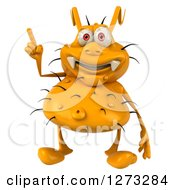Clipart Of A 3d Yellow Germ Holding Up A Finger Royalty Free Illustration