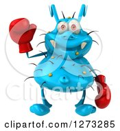 Clipart Of A 3d Blue Germ Waving And Wearing Boxing Gloves Royalty Free Illustration
