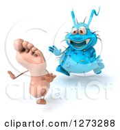 Clipart Of A 3d Blue Germ Chasing A Foot Slightly To The Left Royalty Free Illustration
