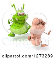 Clipart Of A 3d Green Germ Chasing A Foot Slightly To The Left Royalty Free Illustration