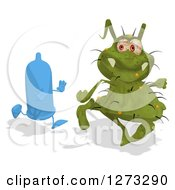 Clipart Of A Blue Condom Character Chasing A Green Germ Royalty Free Illustration by Julos
