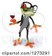 Clipart Of A 3d Bespectacled Green Springer Business Frog Looking To The Right And Holding A Glass Of Red Wine Royalty Free Illustration