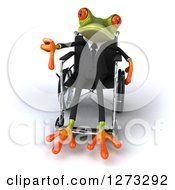 Clipart Of A 3d Green Springer Business Frog Giving A Thumb Down And Sitting In A Wheelchair Royalty Free Illustration