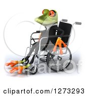 Clipart Of A 3d Green Springer Business Frog Facing Left And Sitting In A Wheelchair Royalty Free Illustration