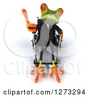 Clipart Of A 3d Green Springer Business Frog Giving A Thumb Up And Sitting In A Wheelchair Royalty Free Illustration