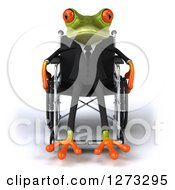 3d Green Springer Business Frog Sitting In A Wheelchair