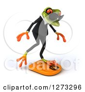 Clipart Of A 3d Green Springer Business Frog Wearing Sunglasses Facing Right And Balancing On A Scale Royalty Free Illustration