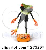 Clipart Of A 3d Green Springer Business Frog Wearing Sunglasses And Balancing On A Scale Royalty Free Illustration