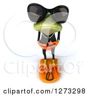Clipart Of A 3d Green Springer Business Frog Wearing Sunglasses Looking Up And Standing On A Scale Royalty Free Illustration