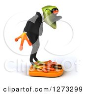 Clipart Of A 3d Green Springer Business Frog Facing Left Wearing Sunglasses And Standing On A Scale Royalty Free Illustration