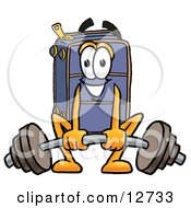 Clipart Picture Of A Suitcase Cartoon Character Lifting A Heavy Barbell