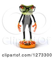 Clipart Of A 3d Bespectacled Green Springer Business Frog Standing On A Scale Royalty Free Illustration