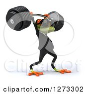 Clipart Of A 3d Green Springer Business Frog Wearing Sunglasses Facing Right And Lifting Up A Barbell Royalty Free Illustration