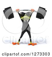 Clipart Of A 3d Green Springer Business Frog Wearing Sunglasses And Lifting Up A Barbell Royalty Free Illustration