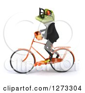 Clipart Of A 3d Bespectacled Green Springer Business Frog Riding A Bicycle To The Left Royalty Free Illustration