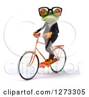 Clipart Of A 3d Bespectacled Green Springer Business Frog Riding A Bicycle Slightly To The Left Royalty Free Illustration