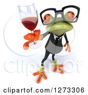 Clipart Of A 3d Bespectacled Green Springer Business Frog Holding Up A Glass Of Red Wine Royalty Free Illustration