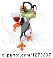 Clipart Of A 3d Bespectacled Green Springer Business Frog Facing Right And Holding Up A Glass Of Red Wine Royalty Free Illustration