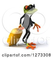 Clipart Of A 3d Traveling Green Springer Business Frog Wearing Sunglasses And Facing Left With Rolling Luggage Royalty Free Illustration