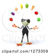 Clipart Of A 3d Green Springer Business Frog Wearing Sunglasses And Juggling Fruit Royalty Free Illustration