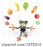 Clipart Of A 3d Green Springer Business Frog Wearing Sunglasses Looking Up And Juggling Fruit Royalty Free Illustration by Julos