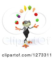 Clipart Of A 3d Green Springer Business Frog Wearing Sunglasses Facing Right And Juggling Fruit Royalty Free Illustration