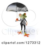 Clipart Of A 3d Green Springer Business Frog Holding An Umbrella Royalty Free Illustration