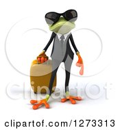 Clipart Of A 3d Traveling Green Springer Business Frog Wearing Sunglasses And Standing With Rolling Luggage Royalty Free Illustration