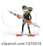 Clipart Of A 3d Green Business Springer Frog Wearing Sunglasses And Holding A Vaccine Syringe Royalty Free Illustration