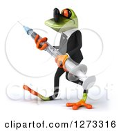 Clipart Of A 3d Green Business Springer Frog Wearing Sunglasses Walking To The Left And Carrying A Vaccine Syringe Royalty Free Illustration
