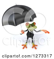 Clipart Of A 3d Green Springer Business Frog Reaching Out From Under An Umbrella Royalty Free Illustration