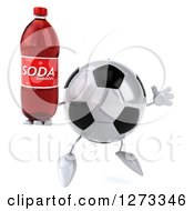 Clipart Of A 3d Soccer Ball Character Facing Right And Jumping With A Soda Bottle Royalty Free Illustration