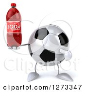 Clipart Of A 3d Soccer Ball Character Holding And Pointing At A Soda Bottle Royalty Free Illustration