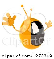 Clipart Of A 3d Retro Yellow TV Facing Right And Jumping Royalty Free Illustration