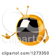 Clipart Of A 3d Retro Yellow TV Presenting Royalty Free Illustration by Julos